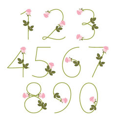 Floral alphabet pink roses numbers from 0 to 9 vector