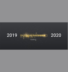 golden loading bar with transition from 2019 to vector image