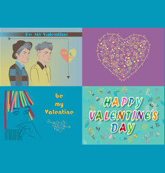 Greeting cards set valentine day vector