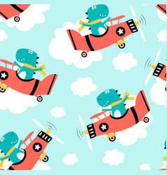Hand drawing plane and cute dinosaur seamless vector