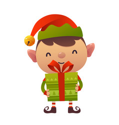 Happy cute cartoon christmas elf with gift vector