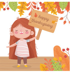 happy thanksgiving day cute girl holding signboard vector image