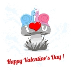 Happy valentines day card with snail vector image