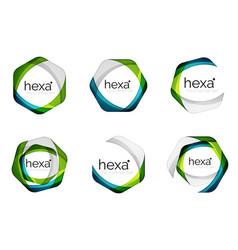 Hexagon logo icon templates vector