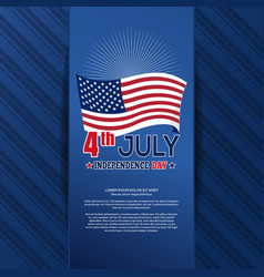 Independence day card with us flag vector