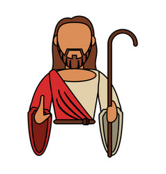 jesus christ catholic with stick vector image