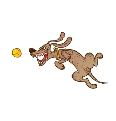 Jumping cheerful dog vector