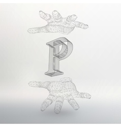 Letter P and hand of lines vector