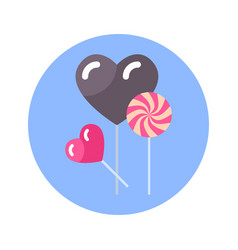 Lollipop candies in heart shape icon on blue round vector