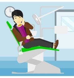 Man suffering in dental chair vector image