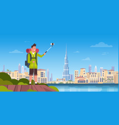man tourist with backpack taking selfie photo over vector image