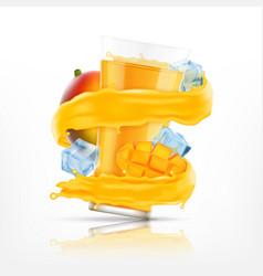 mango juice splash vector image