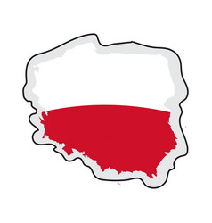 map of poland with its flag vector image