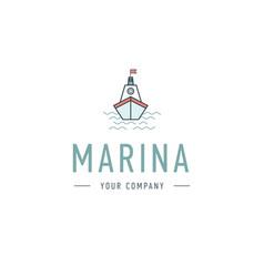 marina steering wheel logo template vector image