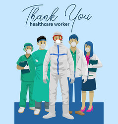 medical staff with thank you greeting vector image