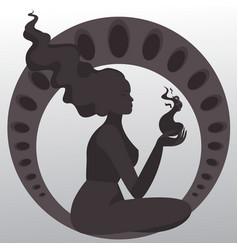 meditate girl silhouette art nouveau emotional vector image