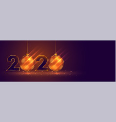 New year 2020 celebration banner with christmas vector