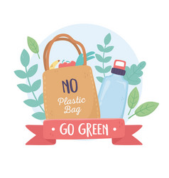 No plastic bag and bottle foliage environment vector