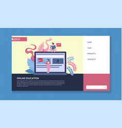 online education web page template open laptop vector image