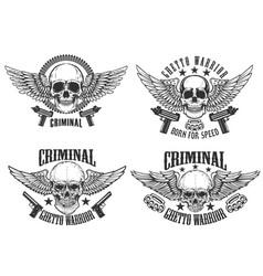 Outlaw street warriors set winged skulls vector