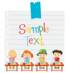 Paper template with kids having cereal vector