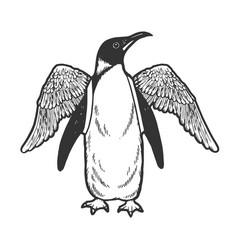 Penguin bird with false wings sketch vector