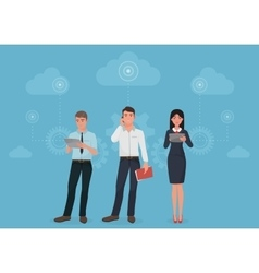 People with gadgets using social business vector image