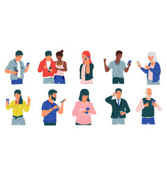 people with phones cartoon happy and disappointed vector image