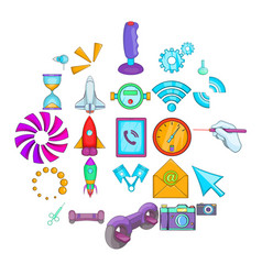 progressive technology icons set cartoon style vector image