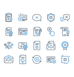 Reject or cancel line icons set of decline vector