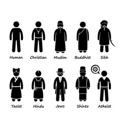 religion of people in the world stick figure vector image