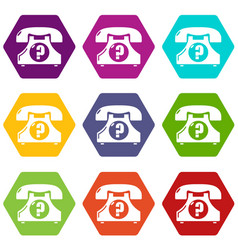 retro phone icons set 9 vector image