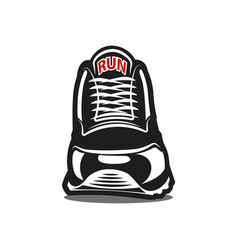 running shoe icon on white background black and vector image