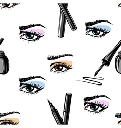 Seamless pattern of woman eye and makeup elements vector