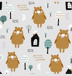 seamless woodland pattern with cute bear forest vector image