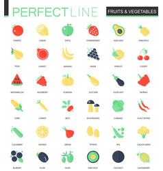 set flat fruits and vegetables icons vector image