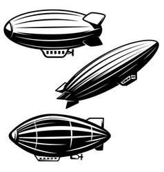 Set of aerostat on white background airships vector