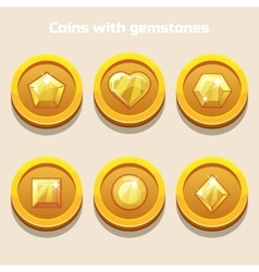 Set of different cartoon coins with gemstones vector image