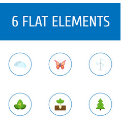 Set of eco icons flat style symbols with butterfly vector