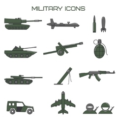 Set of military icons tank fighting machine vector