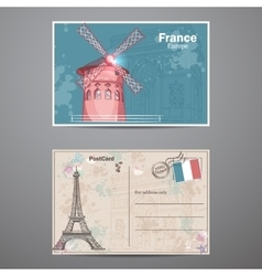 Set two sides of a postcard on the theme Paris vector