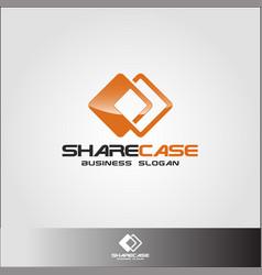 share case - sharing box or sharing square logo vector image