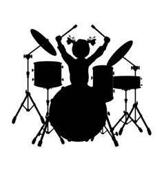 silhouette girl music plays the drums vector image