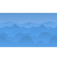 Silhouette of blue mountain and sky landscape vector