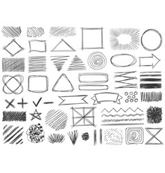Sketch shapes monochrome scribble symbols vector