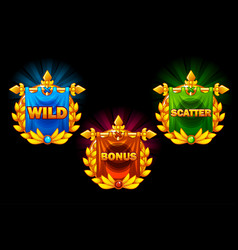 slots icons collections symbols wild vector image