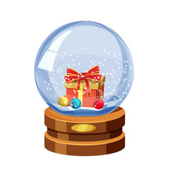 snow globe with shiny snow and gift box with vector image
