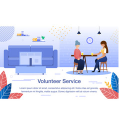 social worker service flat banner template vector image