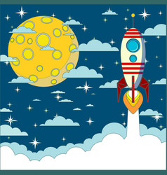space rocket flying in space with moon and stars vector image