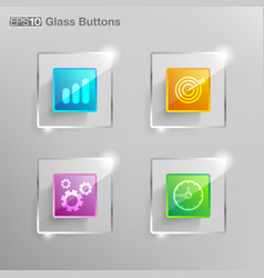 square glass button vector image